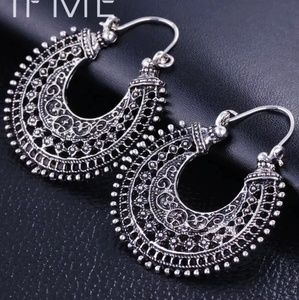 boho bohemian silver earrings